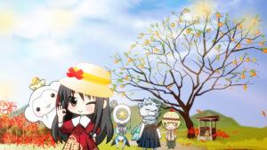 秋の風景柿木と彼岸花