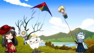 山に行ってみんなで凧あげ